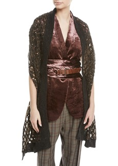 Brunello Cucinelli Mohair-Blend Netted Scarf w/ Paillettes