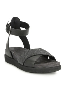 Brunello Cucinelli Monili & Leather Crisscross Ankle-Strap Sandals