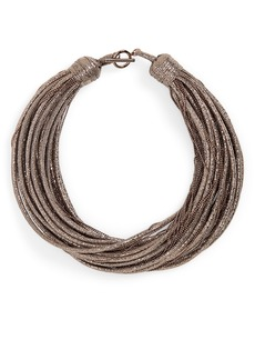 Brunello Cucinelli Monili & Leather Multistrand Choker Necklace