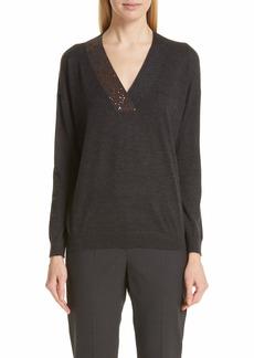 Brunello Cucinelli Monili & Sequin Embellished Cashmere & Silk Sweater