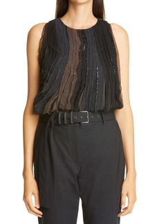 Brunello Cucinelli Monili & Sequin Embellished Silk Top