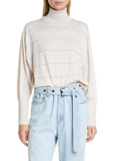 Brunello Cucinelli Monili & Sequin Stripe Cashmere & Silk Sweater