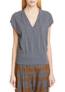 Brunello Cucinelli Monili Argyle Stretch Cotton Top