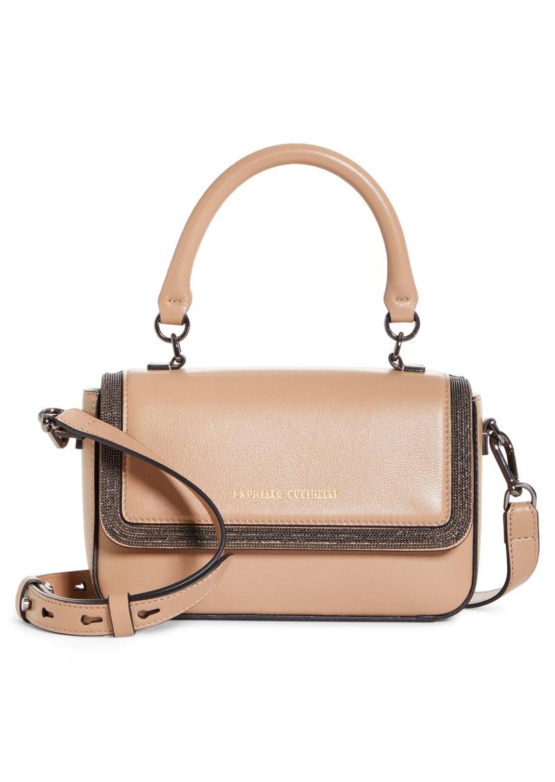 Brunello Cucinelli Monili Bead Leather Crossbody Bag
