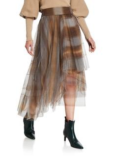 Brunello Cucinelli Monili-Beaded Checked Asymmetric Tulle Skirt