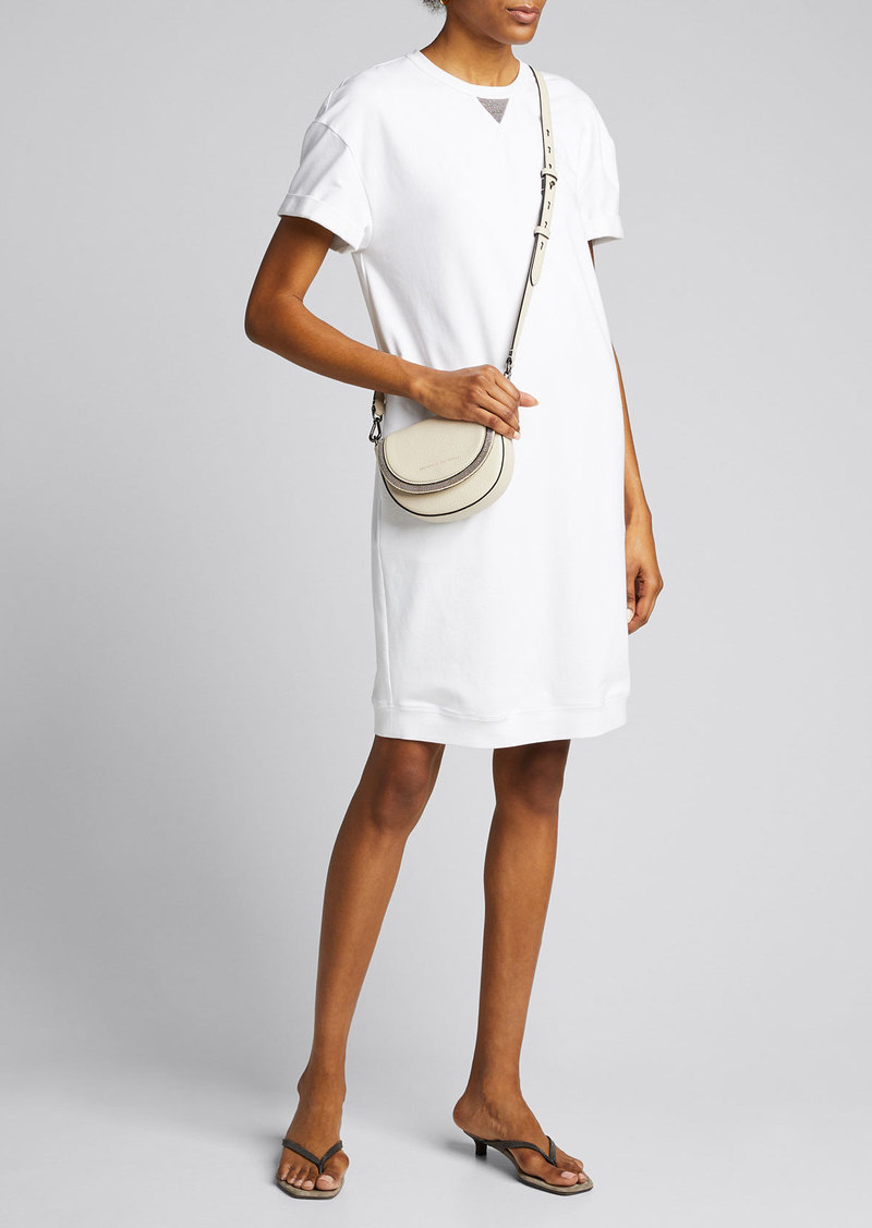 Brunello Cucinelli Monili-Beaded Cotton Felpa Cap-Sleeve T-Shirt Dress