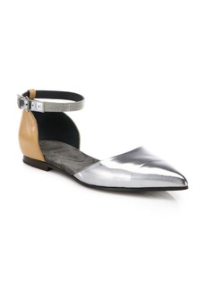 Brunello Cucinelli Monili-Beaded Metallic Leather d'Orsay Ankle-Strap Flats