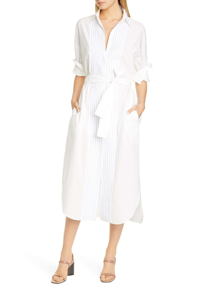 Brunello Cucinelli Monili Bib Long Sleeve Poplin Shirtdress