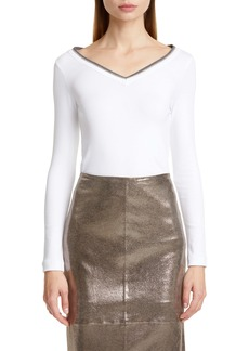 Brunello Cucinelli Monili Collar Jersey Top