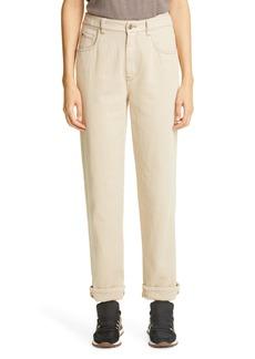 Brunello Cucinelli Monili Cuff High Waist Straight Leg Jeans (Shell)