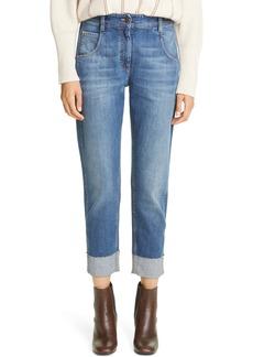 Brunello Cucinelli Monili Cuff Straight Leg Jeans