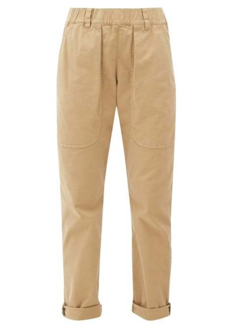 Brunello Cucinelli Monili embellished-cuff stretch-cotton chinos