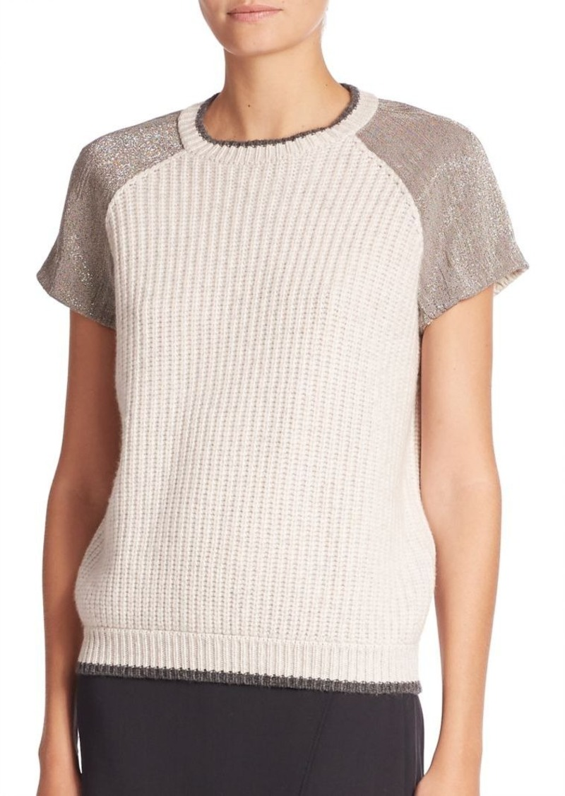Brunello Cucinelli Monili Embellished English Ribbed Cashmere Sweater