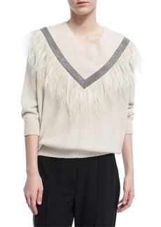 Brunello Cucinelli Monili Feather-Trim V-Neck Sweater
