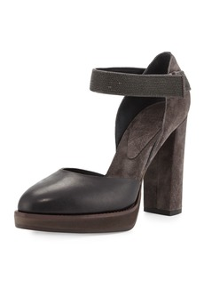Brunello Cucinelli Monili Mary Jane Block-Heel Pump