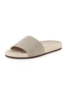 Brunello Cucinelli Monili One-Band Flat Sandal Slide