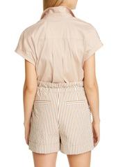 Brunello Cucinelli Monili Pocket Stretch Poplin Shirt