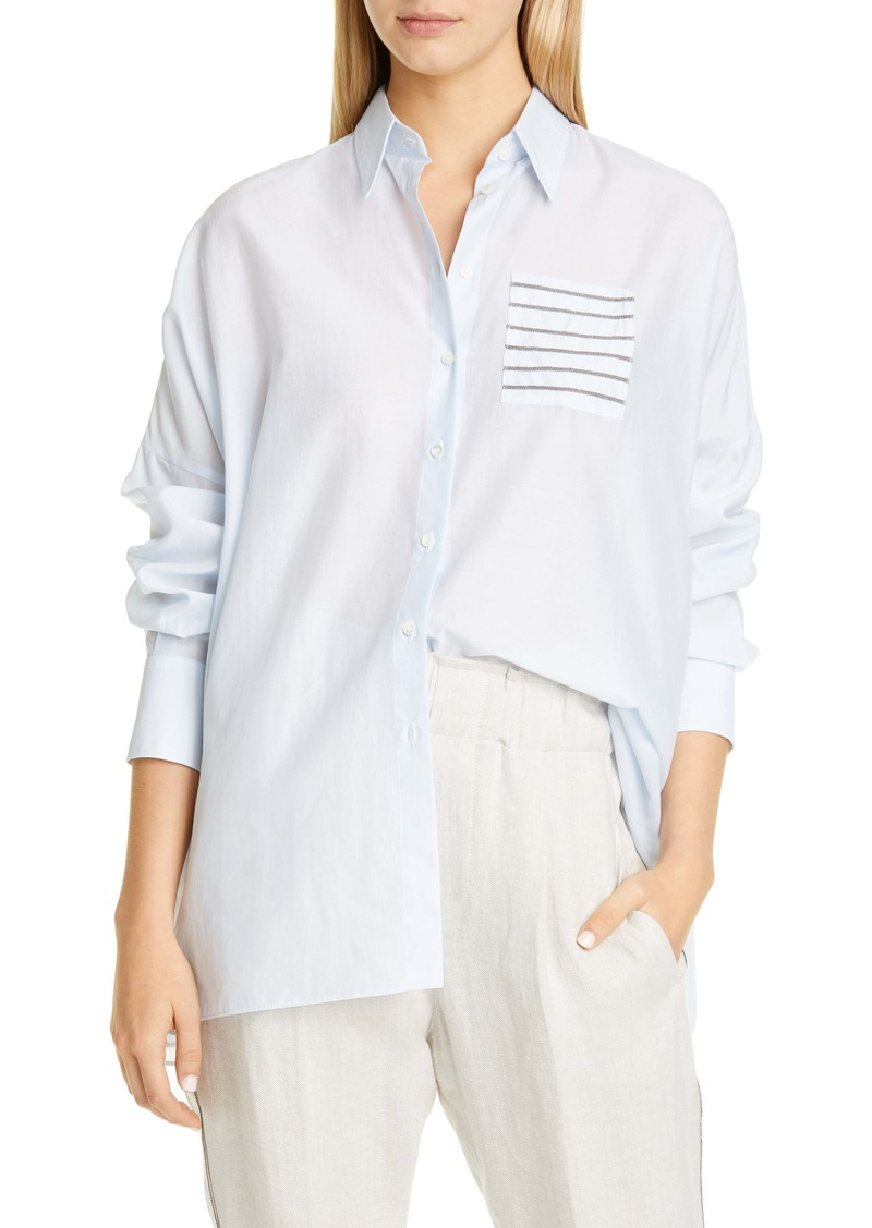 Brunello Cucinelli Monili Pocket Voile Shirt