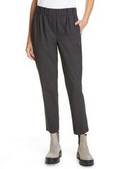 Brunello Cucinelli Monili Side Stripe Wool Blend Crop Pants