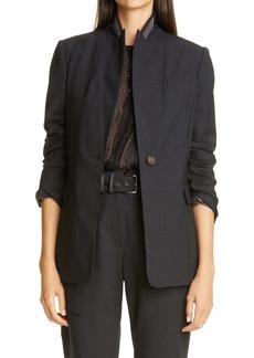 Brunello Cucinelli Monili Stand Collar Wool Blend Jacket