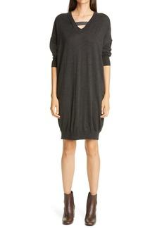 Brunello Cucinelli Monili Strap Cashmere & Silk Sweater Dress