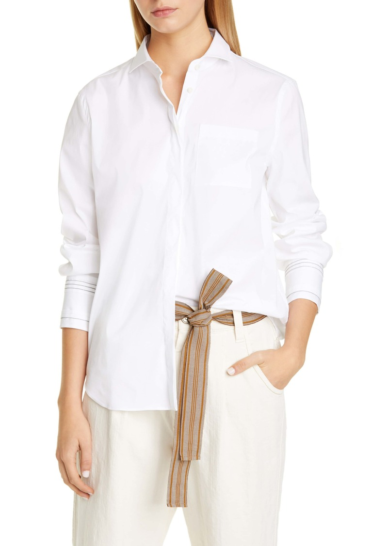 Brunello Cucinelli Monili Stripe Cuff Stretch Poplin Shirt