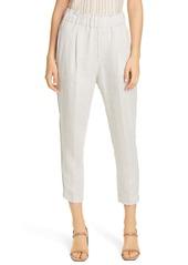 Brunello Cucinelli Monili Stripe Linen Pull-On Crop Pants
