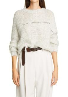 Brunello Cucinelli Monili Stripe Sequin Mohair Blend Sweater