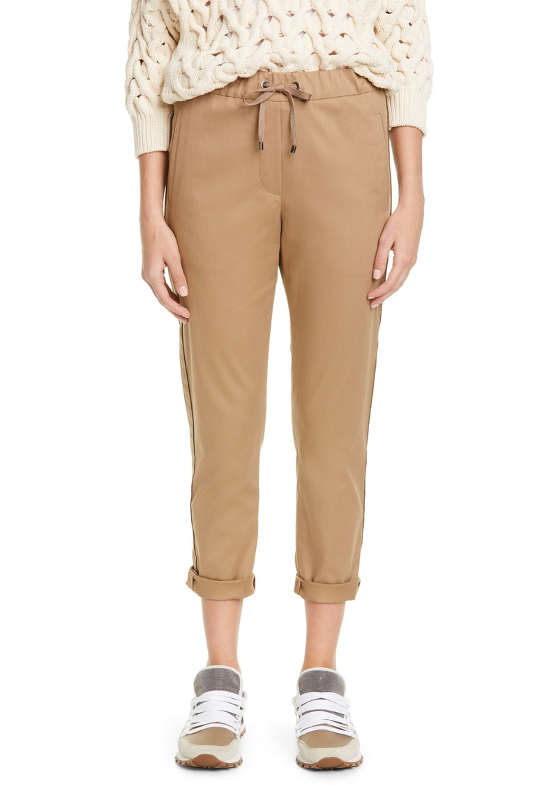 Brunello Cucinelli Monili Stripe Stretch Twill Crop Pants