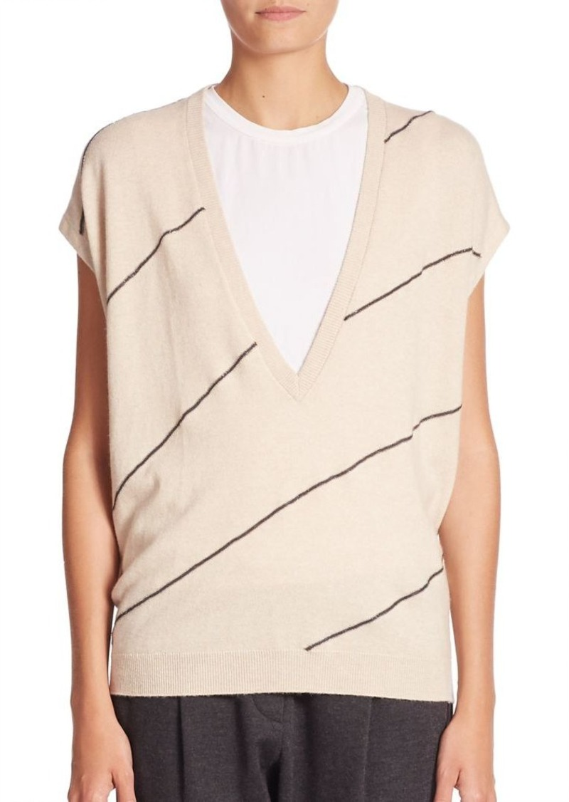 Brunello Cucinelli Monili Striped Cashmere V-Neck Sweater