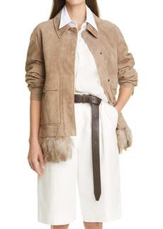Brunello Cucinelli Monili Suede Jacket with Removable Ostrich Feather Trim