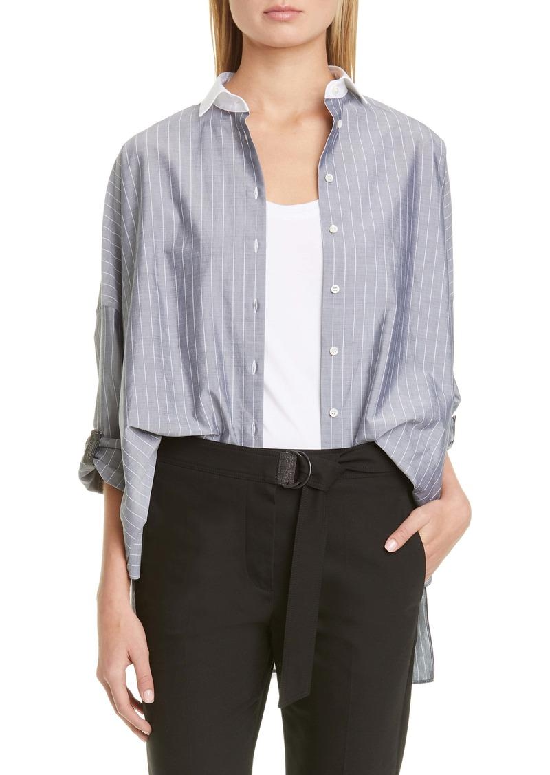 Brunello Cucinelli Monili Tab Sleeve Stripe Poplin Shirt