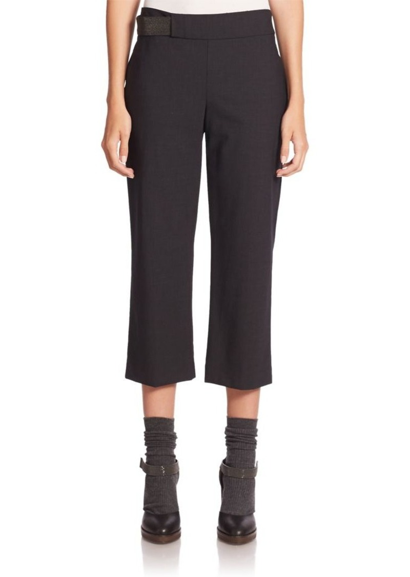Brunello Cucinelli Monili Tab Wool-Blend Square Cropped Pants