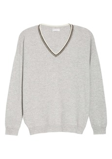 Brunello Cucinelli Monili Trim Cashmere Boyfriend Sweater