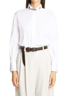 Brunello Cucinelli Monili Trim Cotton Blend Shirt