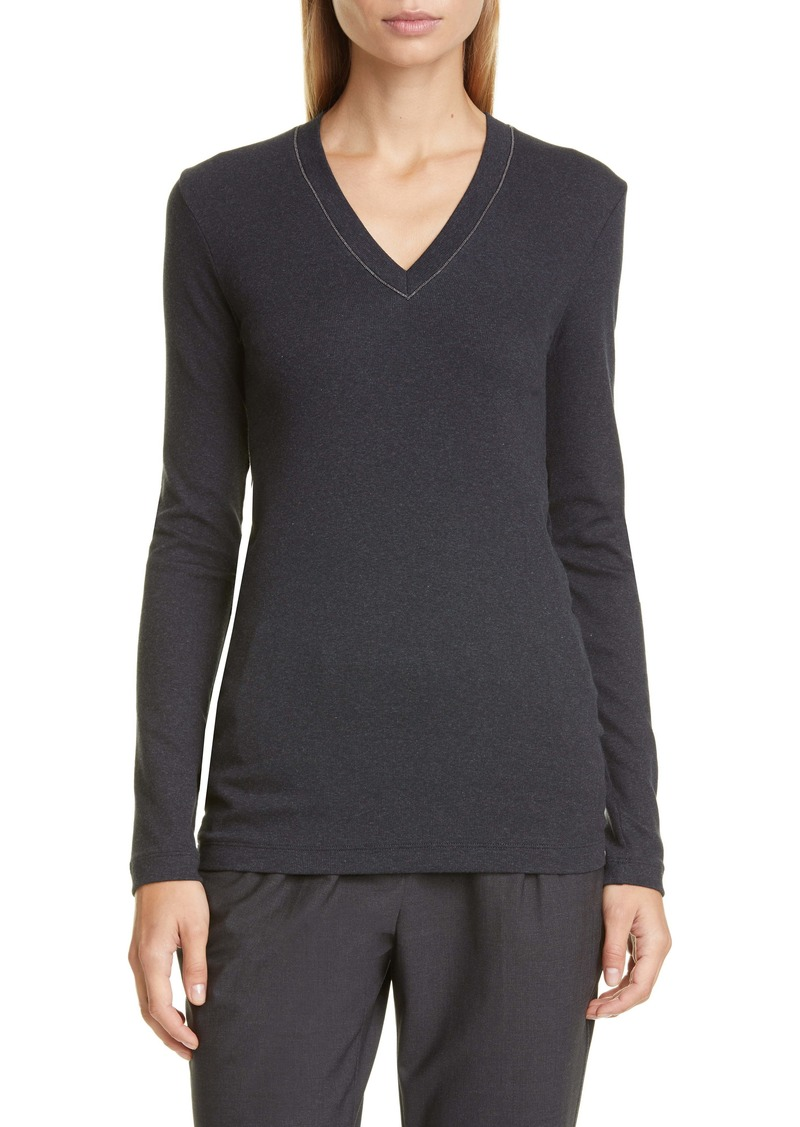 Brunello Cucinelli Monili Trim Rib Tee