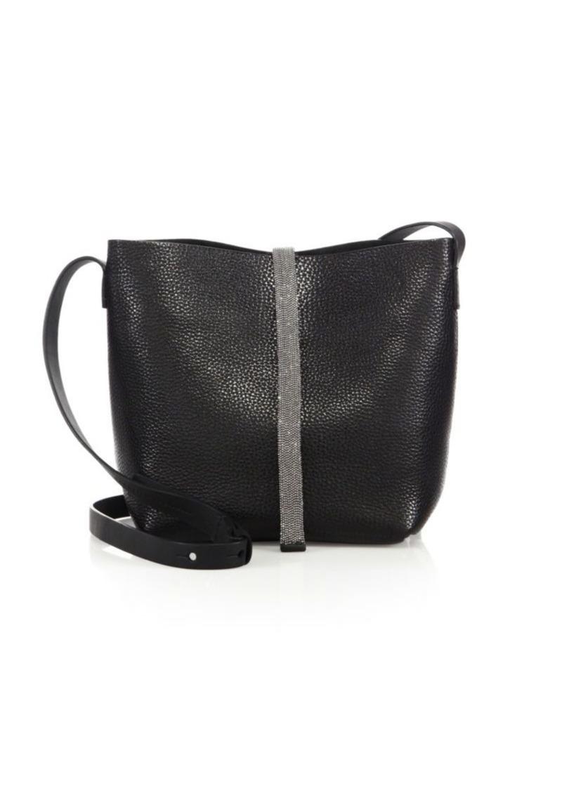Brunello Cucinelli Monili-Trim Leather Shoulder Bag