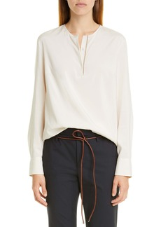 Brunello Cucinelli Monili Trim Long Sleeve Stretch Silk Blouse