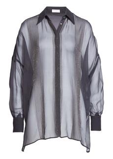 Brunello Cucinelli Monili Trim Oversize Silk Blouse