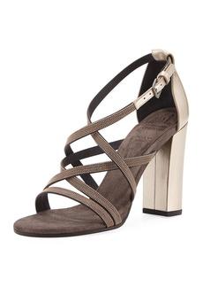 Brunello Cucinelli Monili-Trim Strappy Sandal