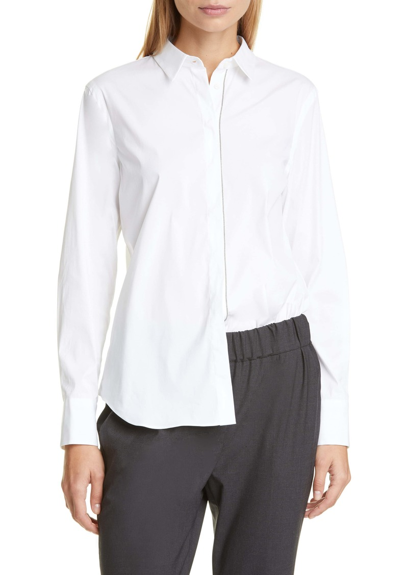 Brunello Cucinelli Monili Trim Stretch Poplin Shirt