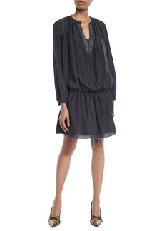 Brunello Cucinelli Monili V-Neck Long-Sleeve Dropped-Waist Silk Mini Dress