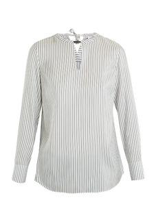 Brunello Cucinelli Neck-embellished striped silk blouse