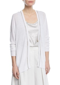 Brunello Cucinelli One-Button Linen Cardigan with Monili and Lurex® Stitching