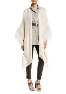 Brunello Cucinelli Open-Front Linen-Lurex® Poncho with Feather Cuff