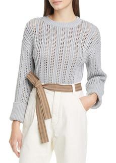 Brunello Cucinelli Open Knit Metallic Cotton Sweater