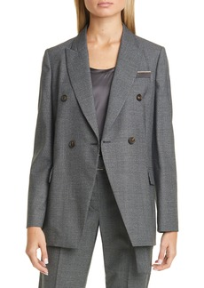 Brunello Cucinelli Oversize Double Breasted Houndstooth Jacket