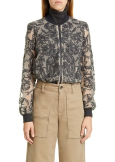 Brunello Cucinelli Paillette Embroidered Silk Bomber Jacket