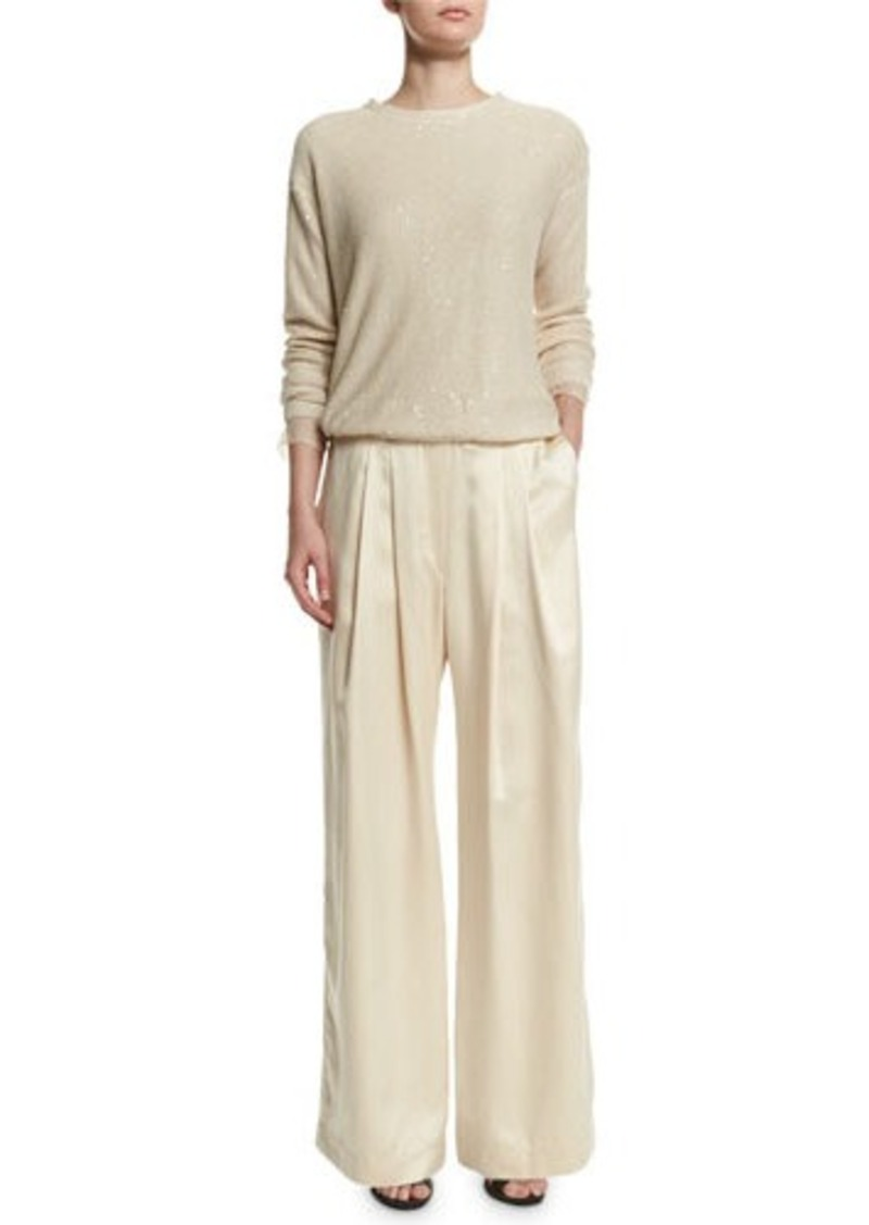 Brunello Cucinelli Paillette Long-Sleeve Wide-Leg Jumpsuit