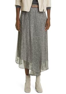 Brunello Cucinelli Paisley Asymmetric Silk Chiffon Skirt